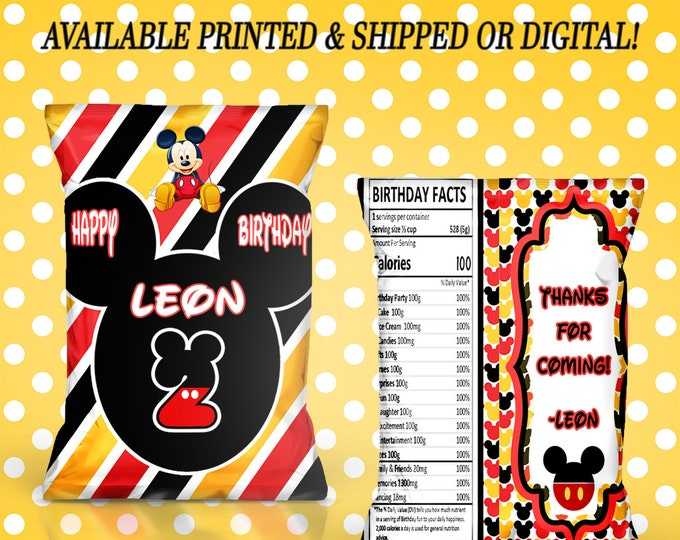 Mickey Mouse Chip Bag - Mickey Mouse Party Favor - Favor Bag - Mickey Mouse Theme - Digital - Printed - Party Printable
