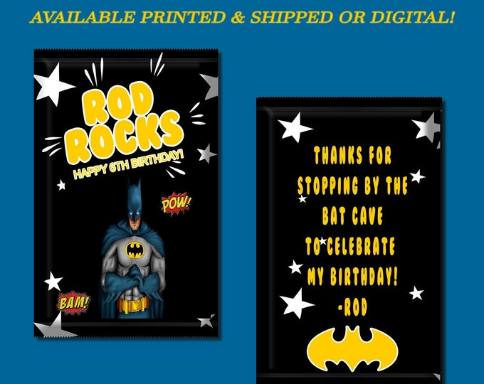 Batman Pop Rock Wrapper - Custom Party Favors - Batman Party - Custom Candy Favors - Batman - Digital - Party Printable - Printed