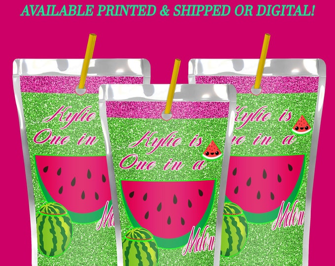 One in a Melon Capri Sun Label - First Birthday Theme - Watermelon Theme - First Birthday Favor Bag - Digital - Printed - Party Printables