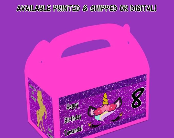 Unicorn Custom Gable Box - Unicorn - Unicorn Stickers - Unicorn Gable Box - Favor Box - Printed - Printable - Digital