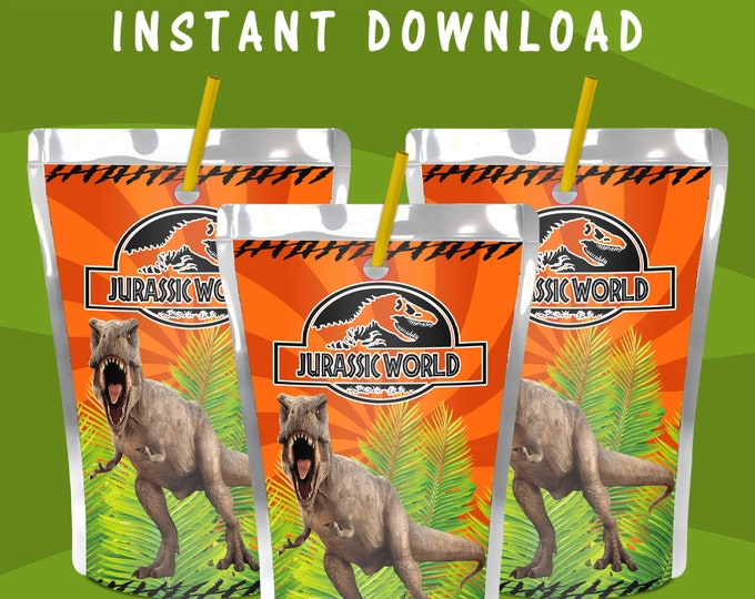 Jurassic World Capri Sun Label - INSTANT DIGITAL DOWNLOAD - File Cannot Be Customized - Jurassic Park - Juice Pouch Label - Digital File