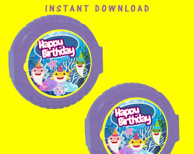 Shark Bubble Gum Tape Label - INSTANT DIGITAL DOWNLOAD - File Cannot Be Customized - File Not Editable - Baby Shark Party Favor - Digital