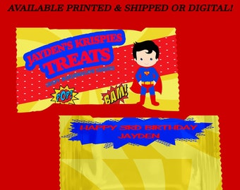 Superhero Rice Krispy Treat Wrapper - Superhero Party - Superhero Theme - Party Favor - Digital - Party Printable - Printed