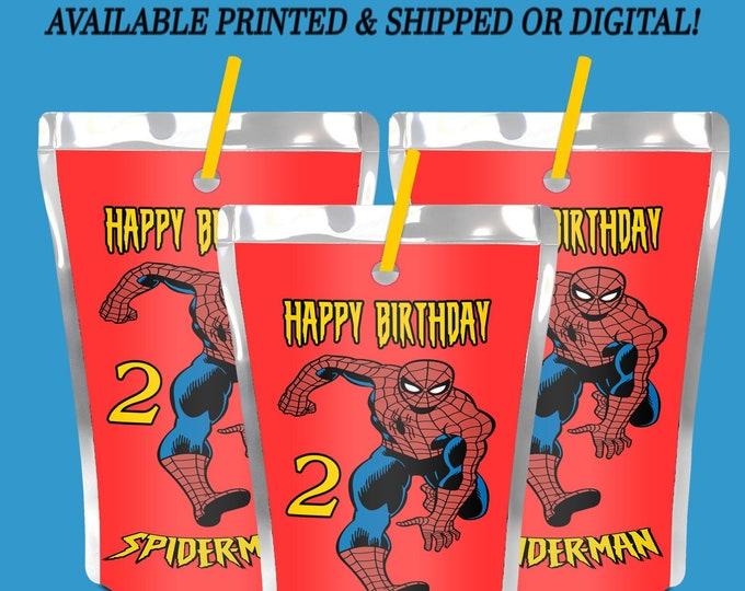 Spiderman Capri Sun Label - Spiderman - Juice Pouch Label - Juice Pouch Sticker - Label - Sticker - Digital - Printable - Printed