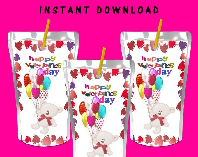 Valentine Juice Pouch Label - INSTANT DIGITAL DOWNLOAD - File Not Editable- Valentines Chip Bag - Party Printable