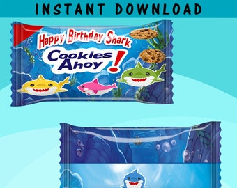Shark Cookie Favor - INSTANT DIGITAL DOWNLOAD - File Cannot Be Customized - File Not Editable - Baby Shark Party Favor - Digital