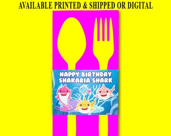 Shark Napkin Ring Wrapper - Utensil Napkin Wrapper - Napkin Wrapper - Utensil Wrapper - Digital - Printed - Party Printables