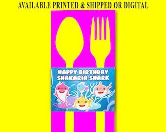 Shark Napkin Ring Wrapper - Utensil Napkin Wrapper - Napkin Wrapper - Baby Shark Party Favors - Digital - Printed - Party Printables