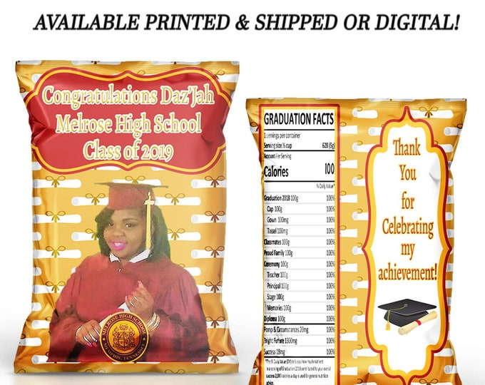 Graduation Chip Bag - Graduation Favor Bag - Graduation Gift - Graduation Party - Graduation Fan - Digital - Party Printable