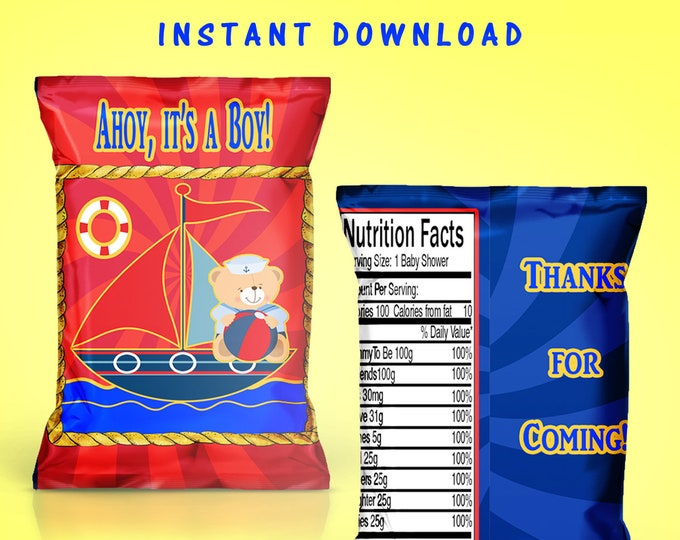 Sailboat Baby Shower Chip Bag - INSTANT DIGITAL DOWNLOAD - File Cannot Be Customized - File Not Editable - Baby Shower - Digital - Printed