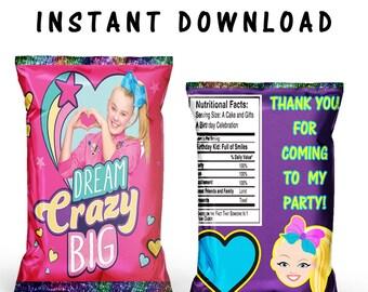 JoJo Chip Bag - INSTANT DIGITAL DOWNLOAD - File Cannot Be Customized - File Not Editable - JoJo Favor Bag - Chip Bag - Party Printables
