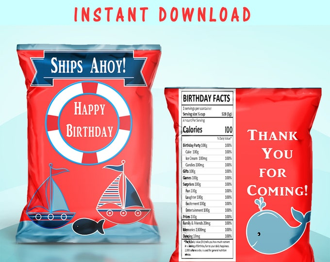 Sailboat Chip Bag - INSTANT DIGITAL DOWNLOAD - File Cannot Be Customized - File Not Editable - Sailor Theme - Digital -  Party Printable