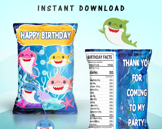Shark Chip Bag - INSTANT DIGITAL DOWNLOAD - File Cannot Be Customized - File Not Editable - Baby Shark Party Favors - Party Printable