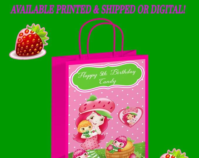 Strawberry Shortcake Gift Bag Label - Strawberry Shortcake Party - Gift Bag Labels - Digital - Printed - Party Printable