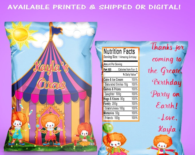Circus Chip Bags - Circus Party - Custom Party Favors - Chip Bag - Digital - Printed - Party Printables