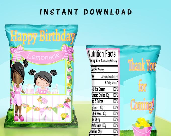 Lemonade Stand Chip Bag - INSTANT DIGITAL DOWNLOAD - File Not Editable - Lemonade Favor Bag- Favor Bag - Digital - Printed - Party Printable