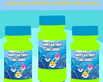 Shark Bubble Labels - Party Favor - Baby Shark Party Favors - Bubble Stickers - Digital - Printed - Party Printables - Baby Shark