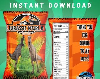 Jurassic World Chip Bag - INSTANT DIGITAL DOWNLOAD - Jurassic Park Chip Bag - Custom Chip Bag - Digital File - Printed - Party Printables