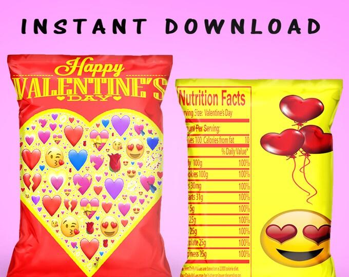 Valentine Chip Bag - INSTANT DIGITAL DOWNLOAD - Valentines Gift- Valentines Chip Bag - Party Printable