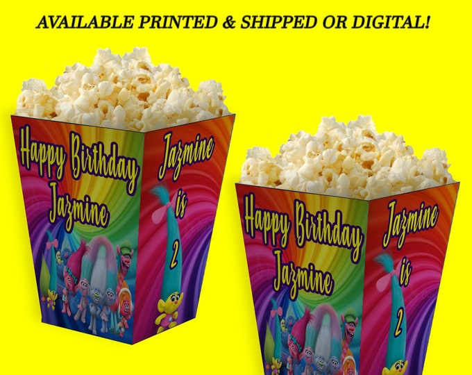 Trolls Popcorn Box - Troll Party - Personalized Party Favor - Trolls Favor - Trolls Birthday Party - Digital - Party Printable - Printed