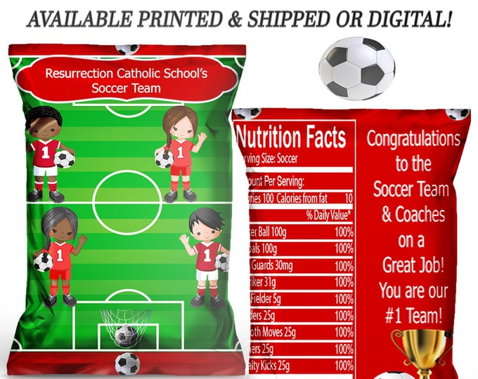 Soccer Chip Bag - Soccer Party - Party Favor - Custom Chip Bag - Custom Party Favor - Digital - Party Printable - Printed