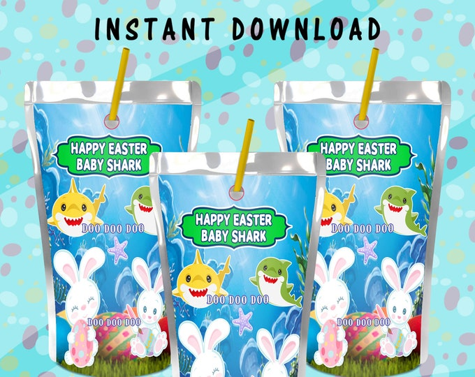 Shark Easter Juice Pouch Label - INSTANT DIGITAL DOWNLOAD - File Not Editable - Easter Theme - Digital File - Printed - Party Printable