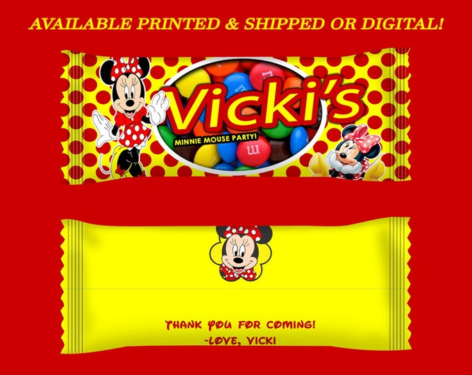 Minnie Mouse Candy Wrapper - Yellow Red Dots - M&Ms Minnie Mouse Candy Bag - Minnie Mouse Birthday - Digital - Party Printable - Printed