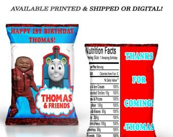 Thomas the Train Chip Bag with Photo - Thomas the Train - Chip Bag - Favor Bag - Digital - Printed - Party Printable