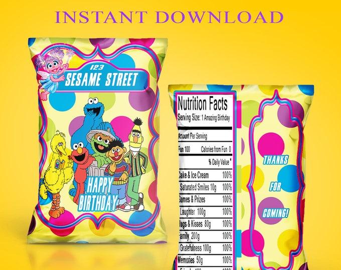 Sesame Street Chip Bag - INSTANT DIGITAL DOWNLOAD - Sesame Street Favor Bag - Sesame Street - Digital - Printed - Party Printables