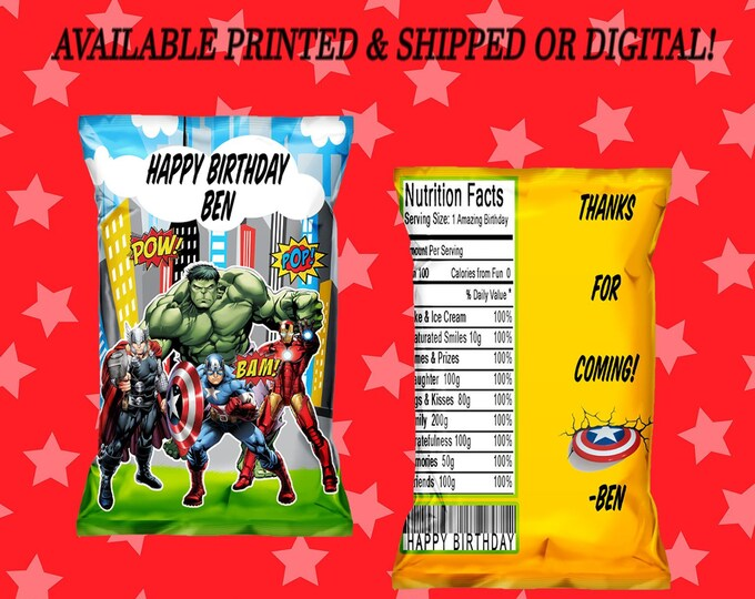 Avengers Chip Bag - Chip Bag - Favor Bag - Avengers Party Favors - Avengers Party - Party Favor - Digital File - Party Printable