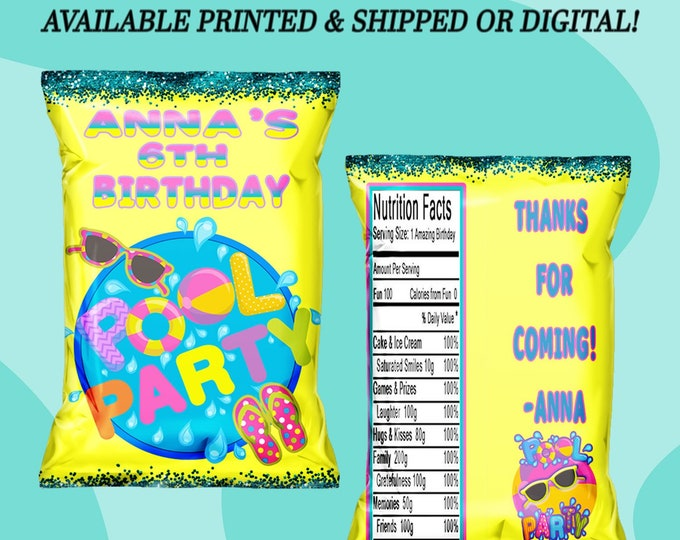 Pool Party Chip Bag - Pool Party - Pool Party Favor Bag - Summer Party Favor - Custom Chip Bag - Pool Party Favor -Digital - Party Printable