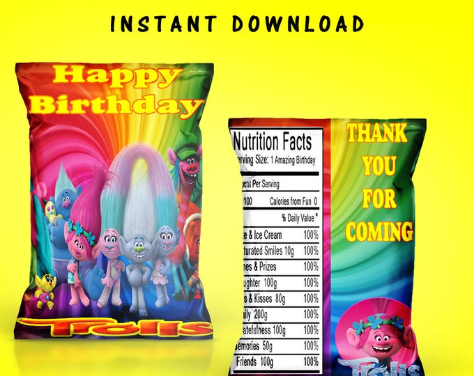 Trolls Chip Bags - INSTANT DIGITAL DOWNLOAD - File Cannot Be Customized - File Not Editable - Trolls Party Favor - Chip Bag - Party Favor