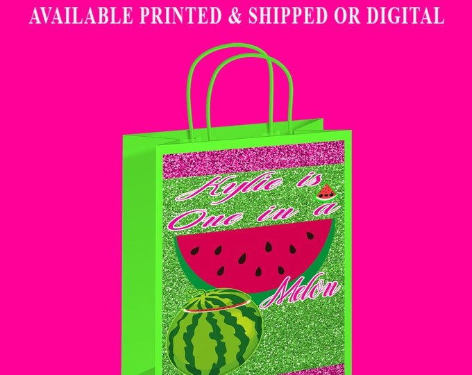 One in a Melon Gift Bag Label - Watermelon Theme Party - First Birthday Party - One in a Melon - Gift Bag - Digital - Party Printables