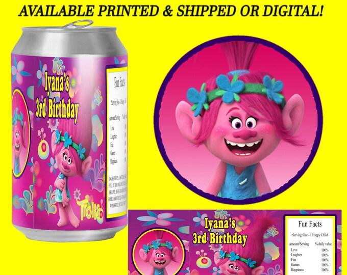Trolls Soda Can Labels - Soda Labels - Mini Soda Labels - Trolls Party Favor - Trolls Birthday Party - Digital - Party Printables