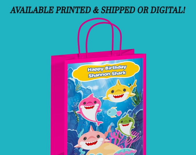 Shark Gift Bag Labels - Shark Party - Shark Favor Bag - Favor Bag - Baby Shark Party Favor - Gift Bag - Digital - Printed - Party Printable