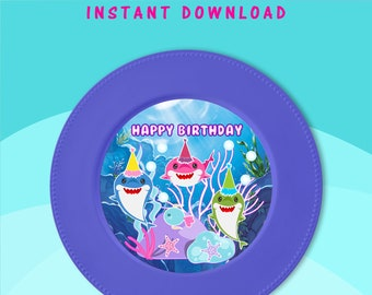 Shark Charger Plate Insert - INSTANT DIGITAL DOWNLOAD - File Cannot Be Customized - File Not Editable - Baby Shark Party Favors - Digital