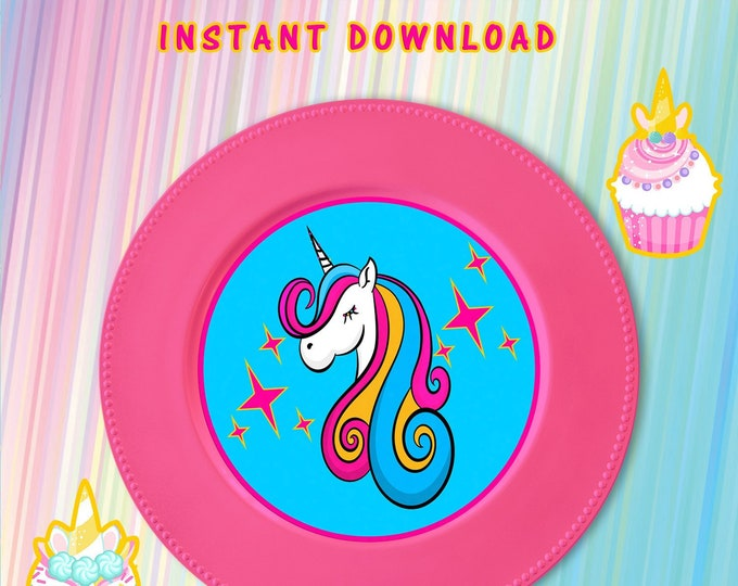 Unicorn Charger Plate Insert - INSTANT DIGITAL DOWNLOAD - This File Cannot Be Customized - File Not Editable - Unicorn Party Favor