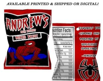 Spiderman Fruit Snack Favor - Spiderman Favors - Spiderman Party - Digital - Party Printables - Printed