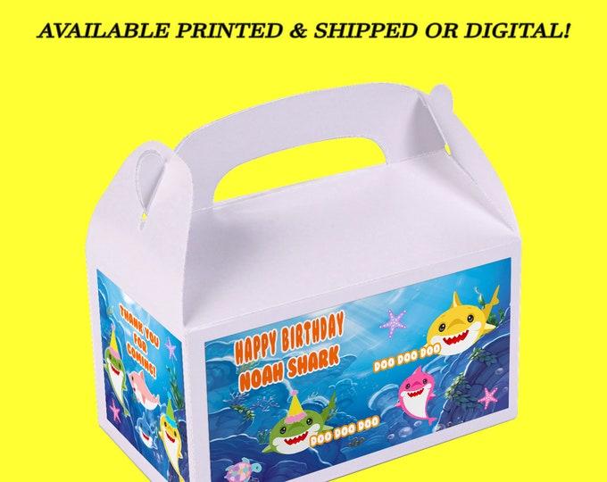Shark Favor Box - Shark - Custom Gable Box - Shark Gable Box - Kids Party - Party Favor - Printed - Party Printable - Digital