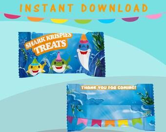 Shark Rice Krispy Treat Wrapper - INSTANT DIGITAL DOWNLOAD - File Not Customizable - File Not Editable - Baby Shark Party Favor - Digital