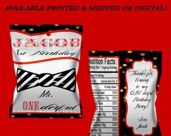 Mr. ONEderful Fruit Snack Bag - Fruit Snack Wrappers - First Birthday - Boy Birthday - Mr. ONEderful Birthday - Digital - Party Printable