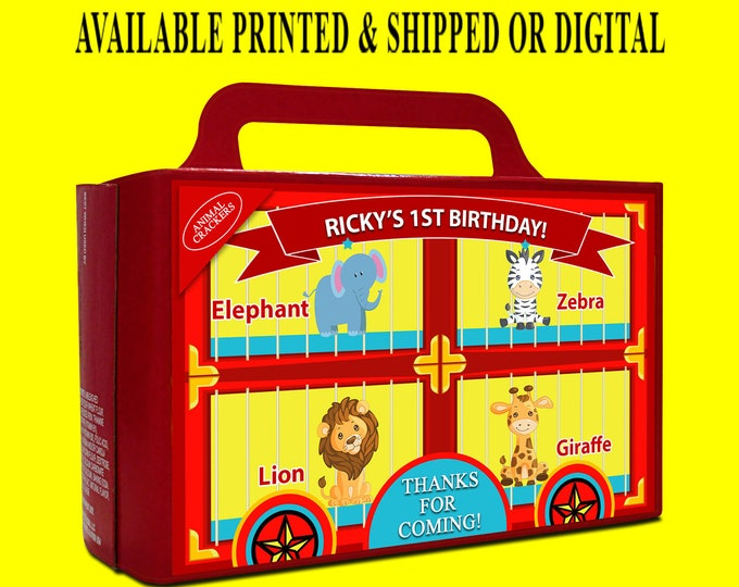 Animal Cracker Box Label - Original Design - Circus Theme - Carnival Theme - Animal Cracker - Digital - Party Printable - Printed