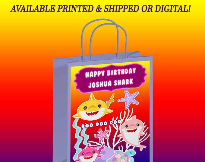 Shark Gift Bag Label - Gift Bag Label - Shark Party - Party Favor - Digital File - Printed - Party Printables