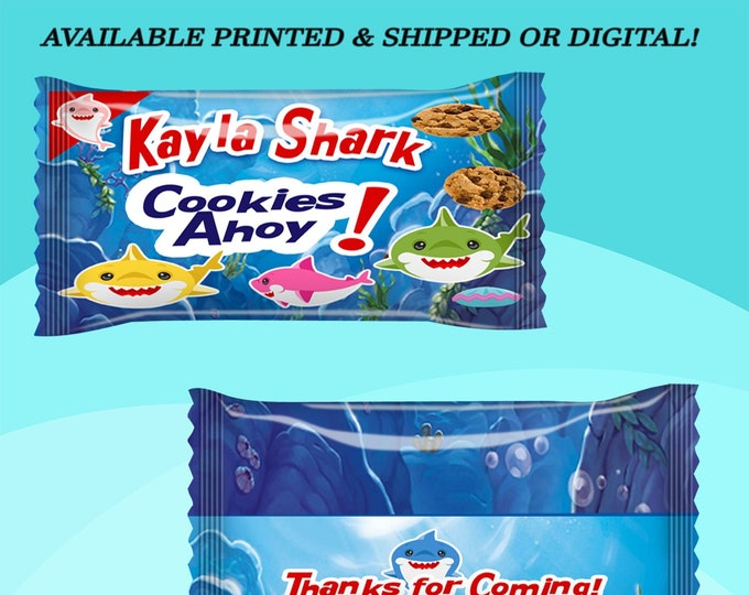 Shark Cookie Wrapper - Shark Party Favor - Party Favor - Shark Party - Shark Party Favors - Digital - Printed - Party Printables