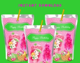 Strawberry Shortcake Capri Sun Label - INSTANT DIGITAL DOWNLOAD -File Cannot Be Customizable - File Not Editable- Strawberry Shortcake