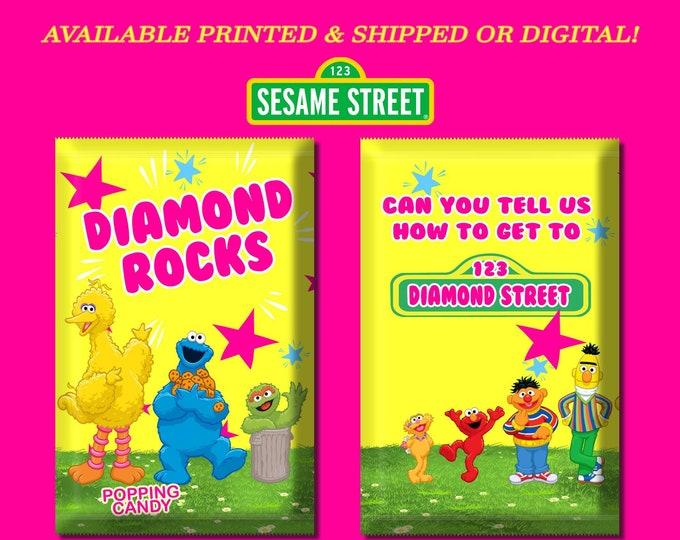 Sesame Street Pop Rock Wrapper - Party Favors - Sesame Street Party - Candy Favors - Digital - Party Printables - Printed