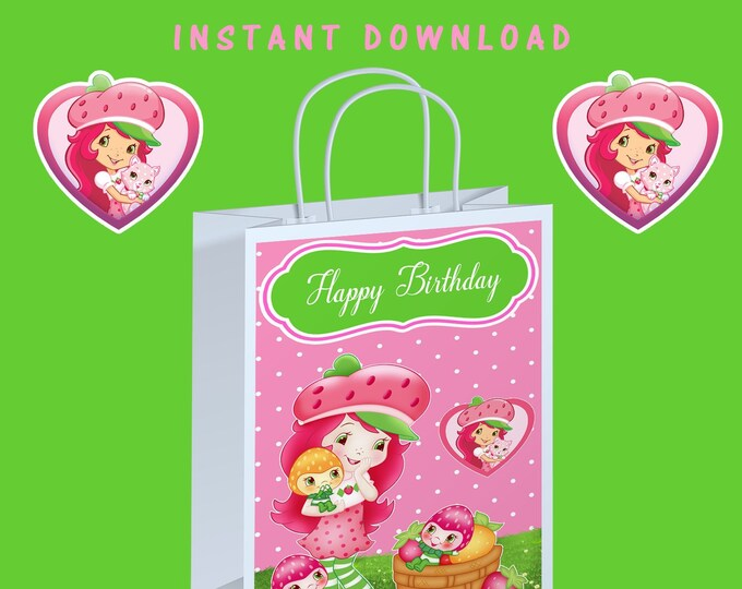 Strawberry Shortcake Gift Bag Label - INSTANT DIGITAL DOWNLOAD - File Cannot Be Customized - File Not Editable - Party Favor - Digital