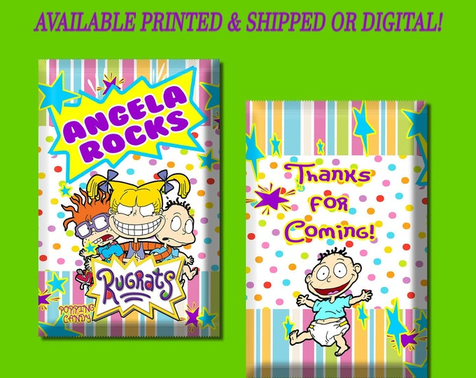 Rugrats Pop Rock Wrapper - Rugrats Candy Wrapper - Candy Favors - Party Favor - Rugrats Party - Digital - Party Printable - Pritned