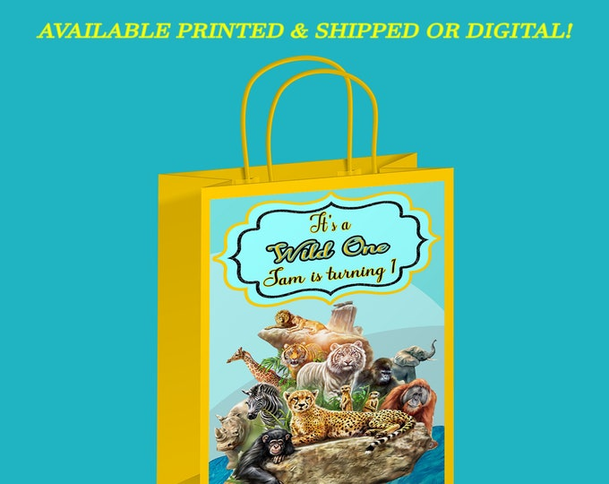 Wild One Gift Bag Label - Wild One Party - Animal Theme - Gift Bag Labels - Digital File - Printed - Party Printable