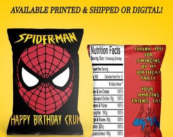 Spiderman Chip Bags - Custom Favor Bags - Spiderman Birthday - Spiderman Party - Chip Bags - Birthday Party - Digital - Printable - Printed